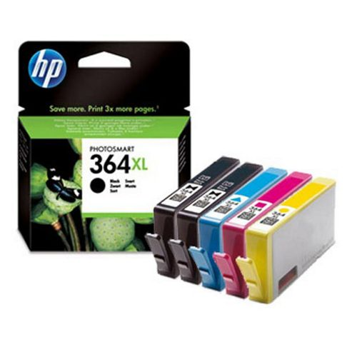 5 HP Original Ink Cartridges to Replace HP364XL. Cyan / Magenta / Yellow / Photo Black / Black (Page Yield: 3050 Pages 290 Photos)