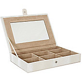 Satin - Luxury Jewellery Box With Mirror - Cream / Brown