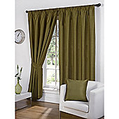 Faux Silk Lined Pencil Pleat Green Curtains & Tiebacks - 46 x 90 Inches
