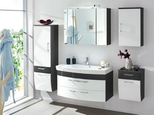 Posseik Rima 30 x 40cm Tall Sloping Bathroom Side Cabinet - Anthracite