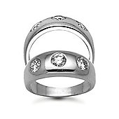 Jewelco London 9 Carat White Gold 1.00ct Gents 3 Stone Diamond Ring