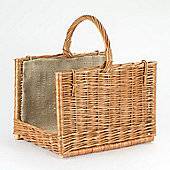 Premium Country Style Wicker Log Basket, Hessian lined with Single Handle - two tone colour