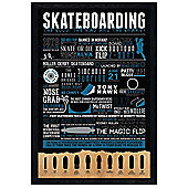 Skateboarding Black Wooden Framed The Good, The Bad and The Gnarly Poster