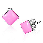 Urban Male Pink Resin & Stainless Steel Men's Square Stud Earrings 7mm