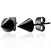 Urban Male Black Stainless Steel Spike Stud Earrings