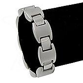 Unisex Polished/Matt Silver Tone Flex Tennis Bracelet - 19cm Length