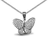 Jewelco London Rhodium Coated Sterling Silver butterfly Charm Pendant - 18 inch Chain