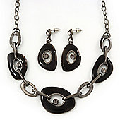Dark Grey Enamel Oval Geometric Chain Necklace & Drop Earrings Set In Gun Metal Finish - 38cm Length/ 6cm Extension