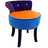Soleil - Stool / Low Back Chair With Wood Legs - Blue / Purple / Orange / Pink