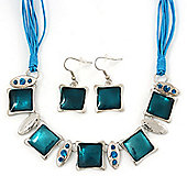 Teal Enamel Square Station Cotton Cords Necklace & Drop Earrings In Rhodium Plating Set - 36cm Length/ 6cm Extension