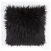 Shaggy Black Faux Fur Cushion