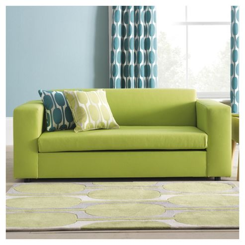 Stanza Leather Effect Sofa Bed, 2 Seater Sofa Lime Green
