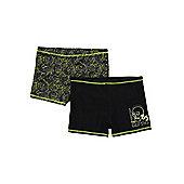 F&F 2 Pack of Skull Print Swim Shorts - Black & Green