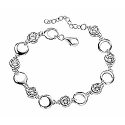 Sterling Silver Open Circle CZ Bracelet