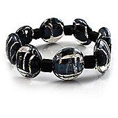 Black Glass With Silver Foil Flex Bracelet