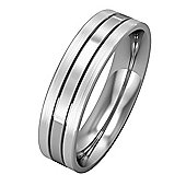 Palladium - 5mm Flat-Court Band Striped with Satin Finished EdgesSize 'P' Commitment / Wedding Ring -