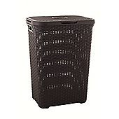 Curver UK Ltd 40 Litre Rattan Effect Laundry Hamper - Dark Brown