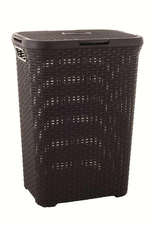 Curver UK Ltd 40 Litre Rattan Effect Laundry Hamper - Dark Brown