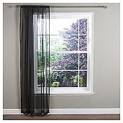 "Crystal Voile Slot Top Curtain W137xL137cm (58x54"") - Black"