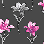 Muriva Lillia Wallpaper - Pink and Black