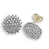 Jewelco London 9 Carat Yellow Gold 1ct Cluster Earrings