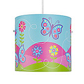 Butterfly Ceiling Light Pendant Drum Shade in Multi Coloured