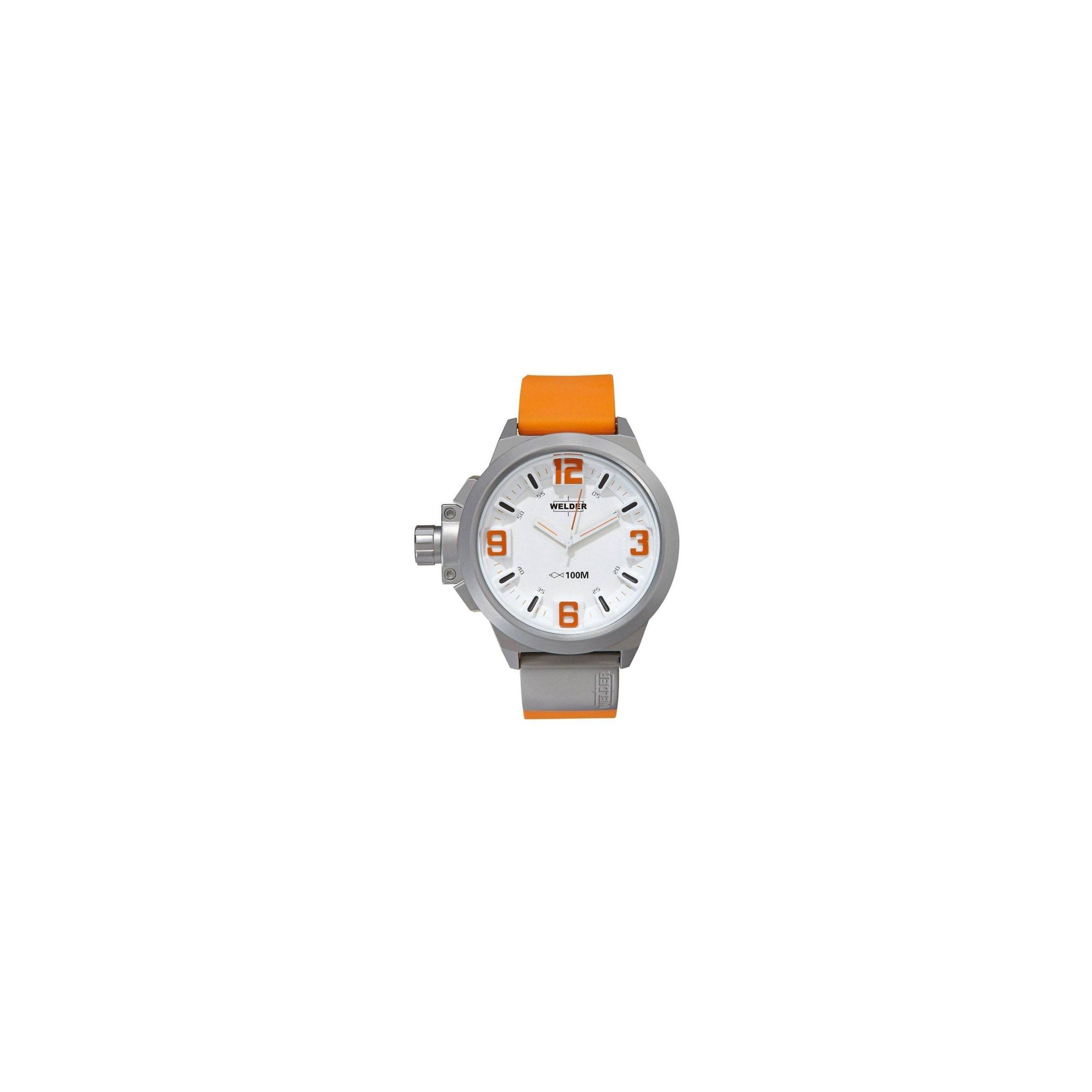 Welder Gents White Dial Orange Rubber Strap Watch K22-905 at Tesco Direct