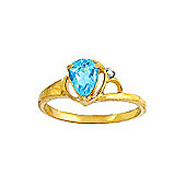 QP Jewellers Diamond & Blue Topaz Glow Ring in 14K Gold
