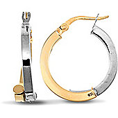 Jewelco London 9ct Yellow and White gold Square Tube off-set hoop earrings