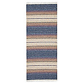 Swedy Ljung Blue / White Rug - Runner 60 cm x 150 cm (2 ft x 4 ft 11 in)