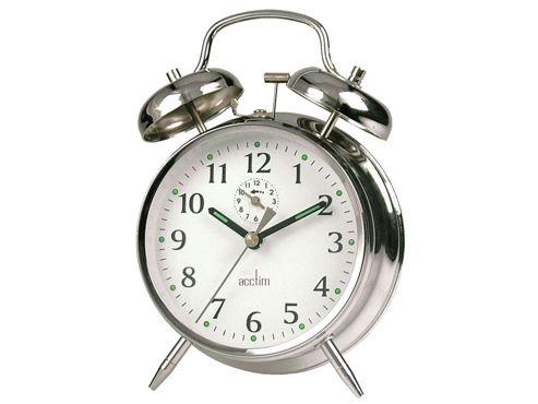 Acctim 12627 Saxon Springwound Alarm Clock Chrome