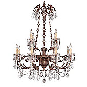Savoy House Crystal and Bronze Nine Light Chandelier in Vintage Gold
