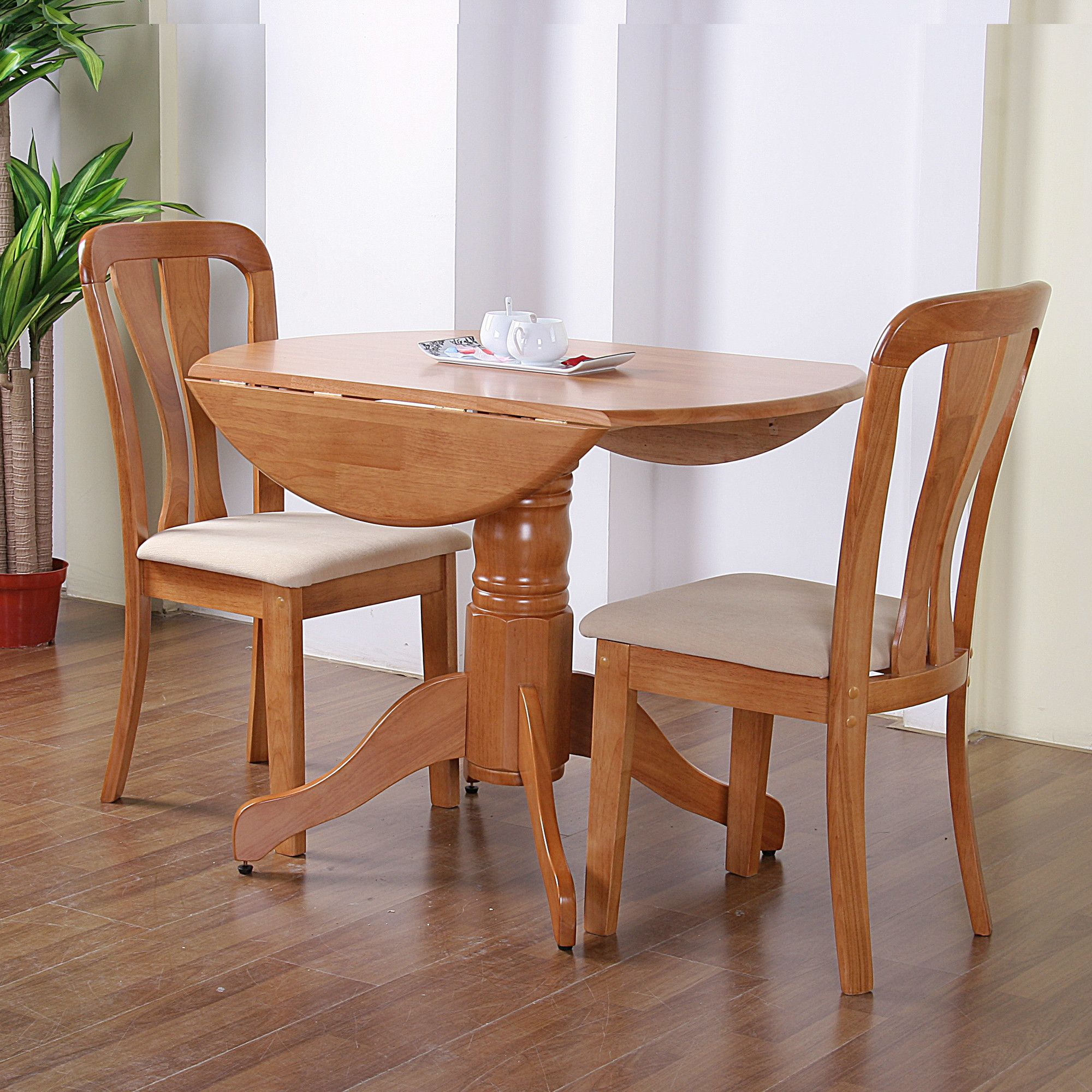 G&P Furniture Windsor House 3-Piece Bristol Round Drop Leaf Dining Set - Maple at Tesco Direct