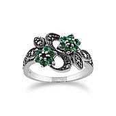 Gemondo Sterling Silver Art Nouveau 0.43ct Emerald & Marcasite Flower Ring