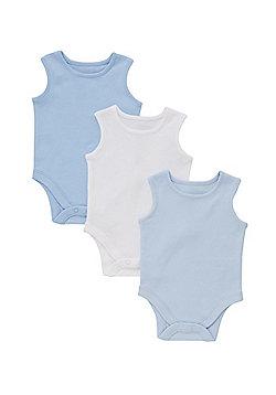 F&F 3 Pack of Sleeveless Bodysuits - Blue & White
