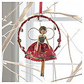 Vintage Fairy In Ring Snowflake Design Hanging Decoration