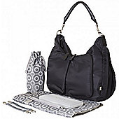 OiOi Hobo Nappy Change Bag - Black Nylon Slouch Hobo PU trim web strap (6690)