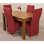 Cotswold Rustic Solid Oak 132 cm Extending Dining Table with 4 Lola Fabric Dining chairs (Red)