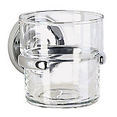 Smedbo Villa Holder with Glass Tumbler - Polished Chrome