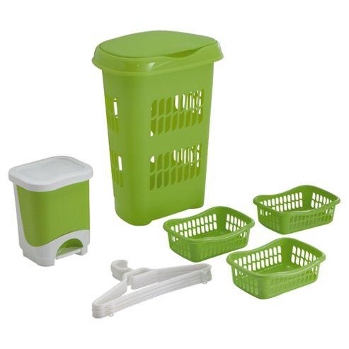 Buy tontarelli complete bathroom set green hamper bin for Green bathroom bin