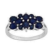 Gemondo Sterling Silver 1.80ct Natural Blue Sapphire & 1pt Diamond Classic Dress Ring