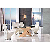 Valencia Glass & Oak 160 cm Dining Table with 6 Ivory Rita Chairs