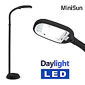 Minisun 8W Daylight LED Flexi Neck Floor Lamp in Black