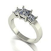 9ct White Gold 3 Stone Square Brilliant Moissanite Ring.