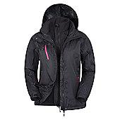 Bracken Womens 3 in 1 Softshell Detachable Inner Waterproof Hooded Jacket Coat - Black
