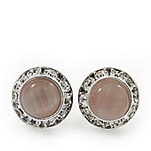 Pale Pink Cats Eye Diamante Button Stud Earrings In Silver Plating - 13mm Diameter