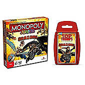 How to Train Your Dragon - Junior Monopoly & Top Trumps - Combo Deal