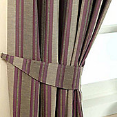 Homescapes Purple Jacquard Tie Back Pair Modern Striped Design
