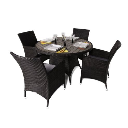 Fazzio 4 Seater Round Rattan & Plaswood Set With Premium Arm Chairs - Outdoor/Garden table and Chair set.