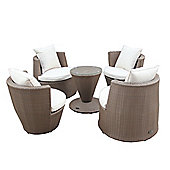 Bentley Garden Rattan Stacking 5 Piece Light Brown Furniture Set